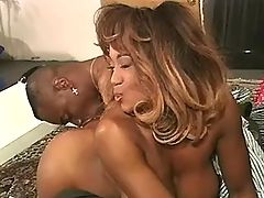 Ebony sweetheart banged by two guys